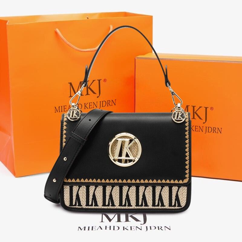 MKJ 2021 Women Fashion Cow Leather Handbag Top Handle Purse Commute Crossbody Bag Elegant Ladies Sho