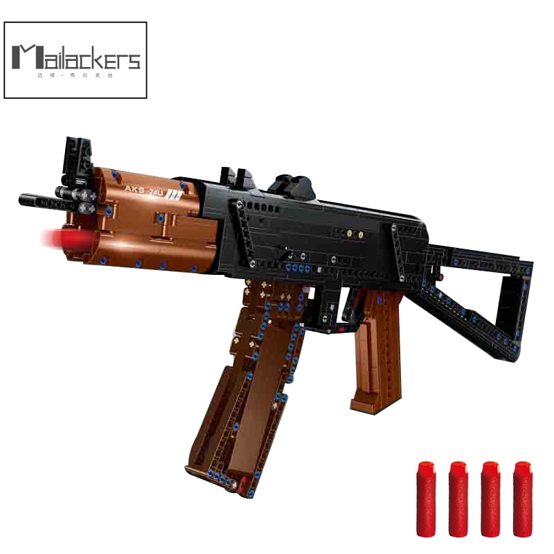 Mailackers Military Weapon Assault Sniper Rifle Aks-74u Building Blocks Military Army Classic Gun Education Toys children Gifts