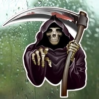 terror pickaxe axe death skull colorful car sticker funny auto bumper truck yacht speedboat cover scratches decals kk14x13cm