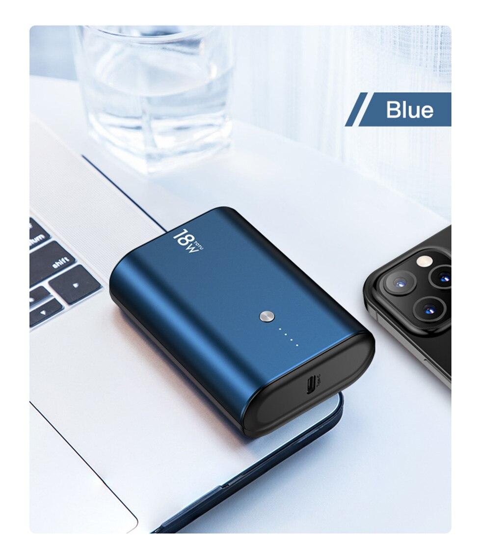 Banco de energía TOTU de 9600mAh, cargador portátil de batería externa USB para Xiaomi Mi 9 10Pro Huawei P40 Pro para iPhone 11 Pro