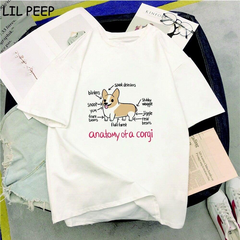 Novedad de verano, ropa informal con impresión de perros Corgi de Anatomía de A Corgi, camiseta Harajuku para mujer, camisas góticas de talla grande, camiseta informal para mujer