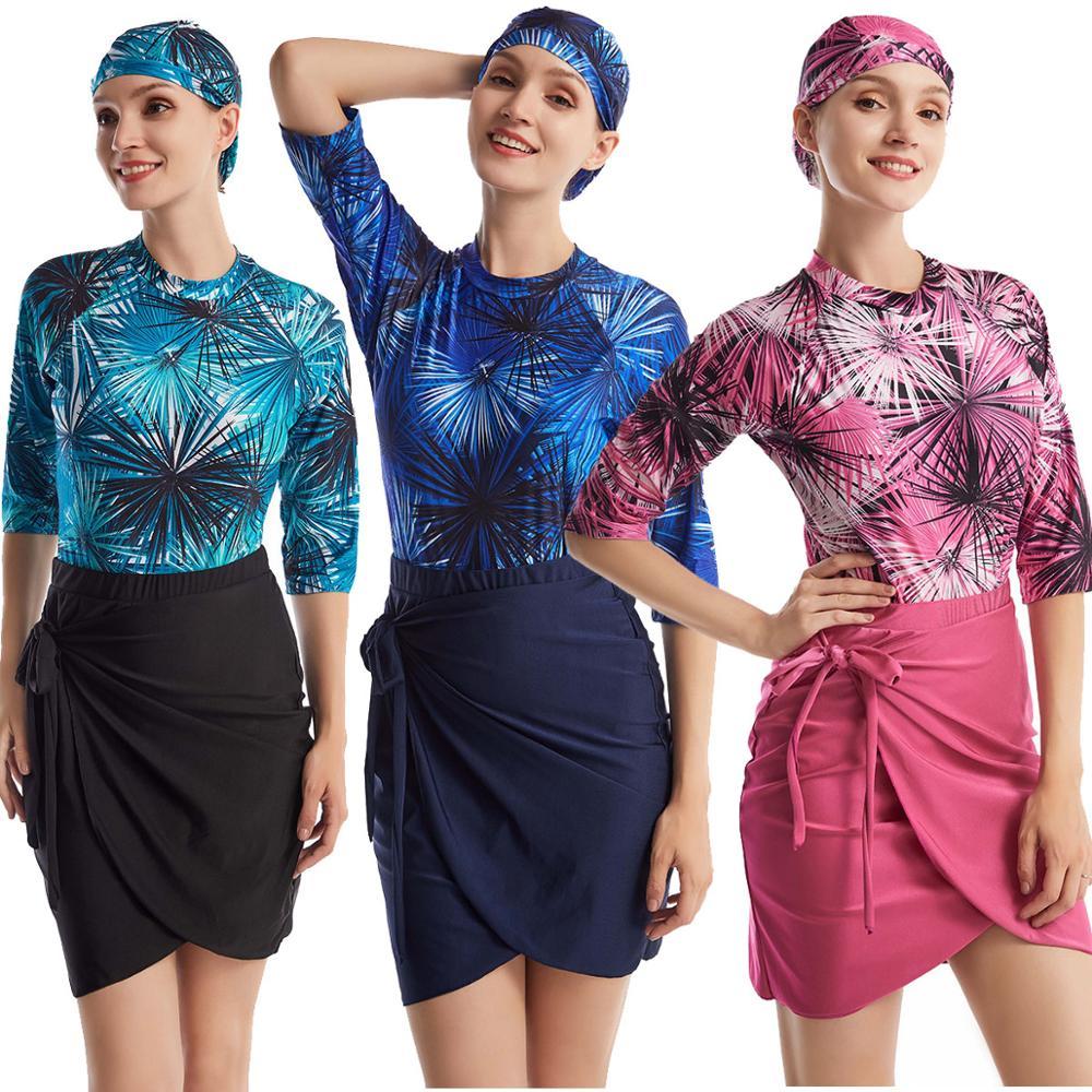 Completa Swimwear Maillot Sportswear Muçulmano Modesto Maiô Swimsuit Mulheres Meninas Saias + Top + Cap 3XL 3PC Maillot de Bain Hijab Mayo