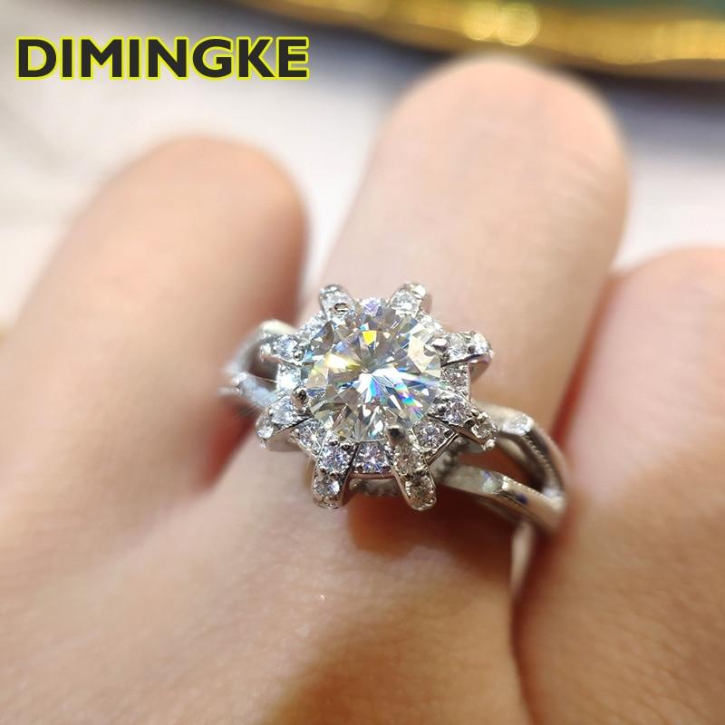 DIMINGKE ريال 1CT 6.5 مللي متر Moissan الماس تاج خاتم GRA شهادة S925 فضة سوبر فلاش حفلة الملكة مجوهرات