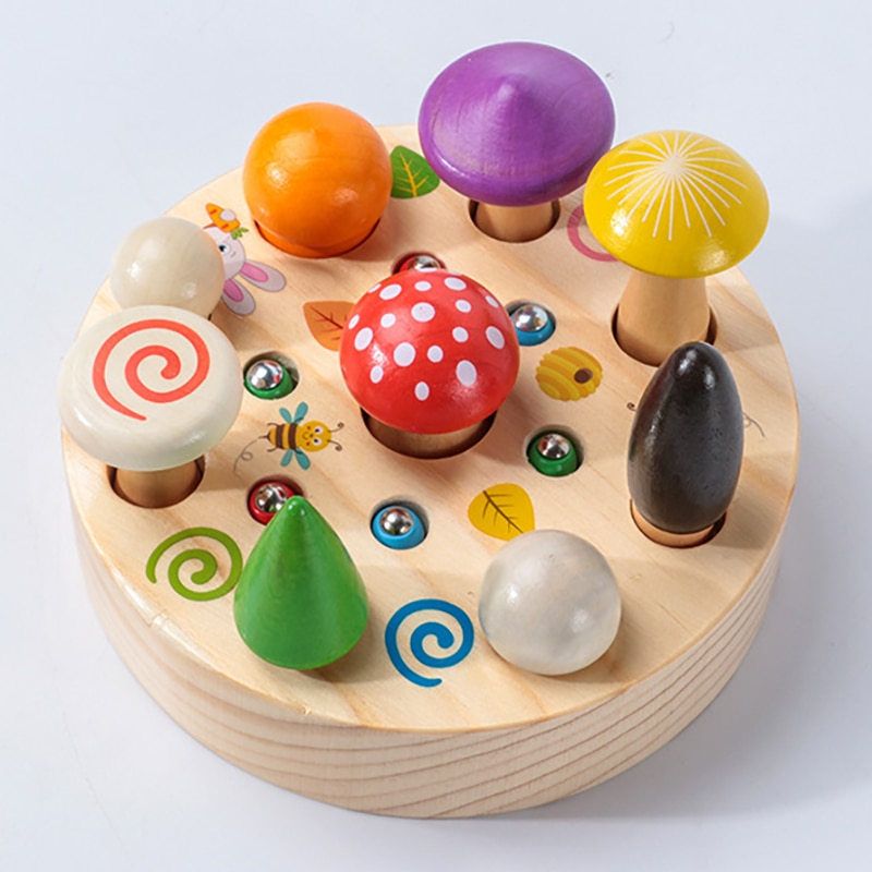 Kids 3D Puzzle Magnetic Wooden Toys Woodpecker Catch Worm Game picking mushrooms Montessori Educational Toys For Children Gifts недорого