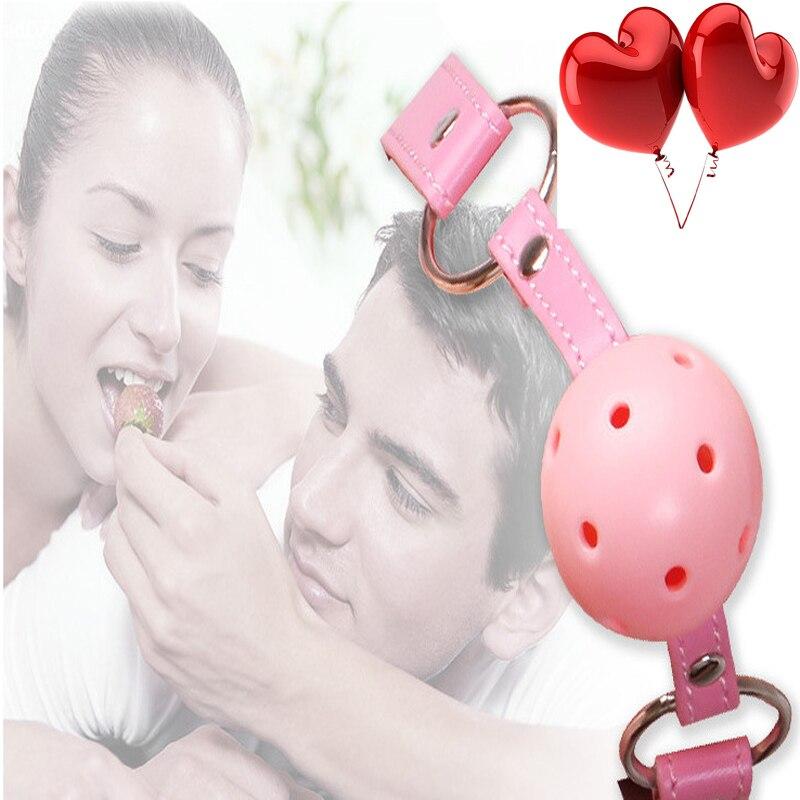 Sex Toys SM Erotic Suit Adult Leather Handcuff Bondage Slave Silicone Ball Gag BDSM Fetish Mouth Restraints