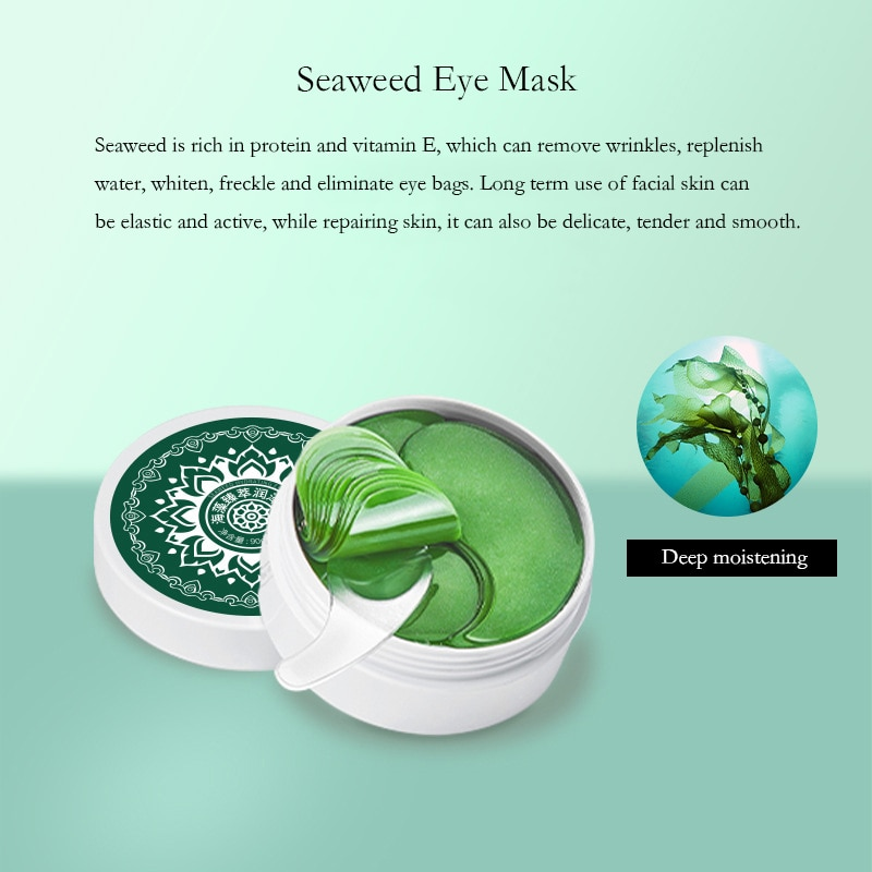 60pcs Golden Eye Mask Seaweed Eye Patch Moisturizing Remove Dark Circles Anti Wrinkle Collagen Polypeptide Astaxanthin Skin Care недорого