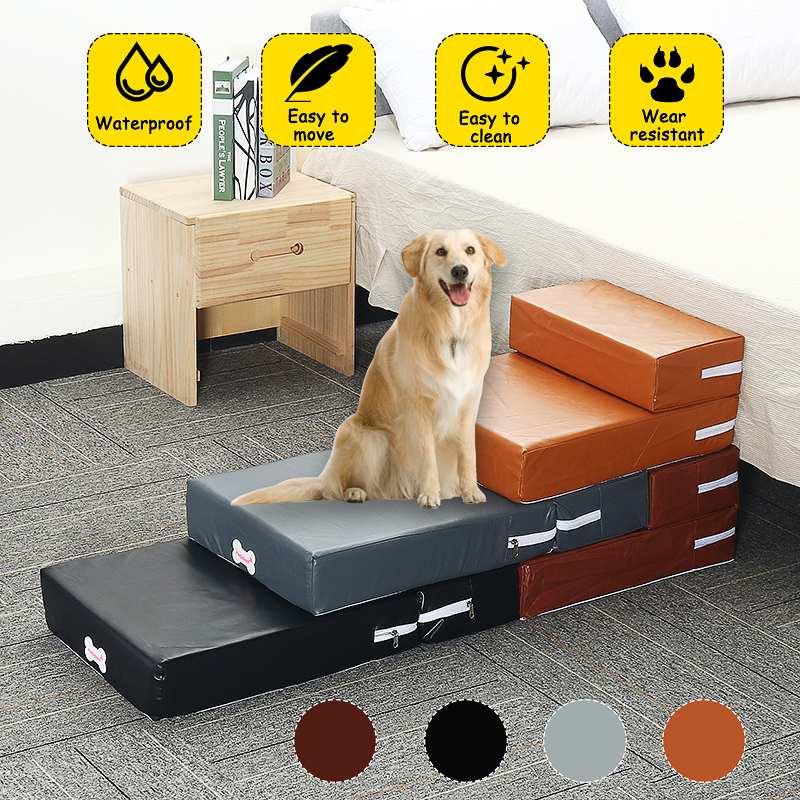 Atmungsaktive Leder Faltbare Pet Treppen Für Alte Hund Haustier Bett Treppen Hund Rampe 2 Schritte Leiter Kleine Hunde Welpen Katze bett Kissen Matte