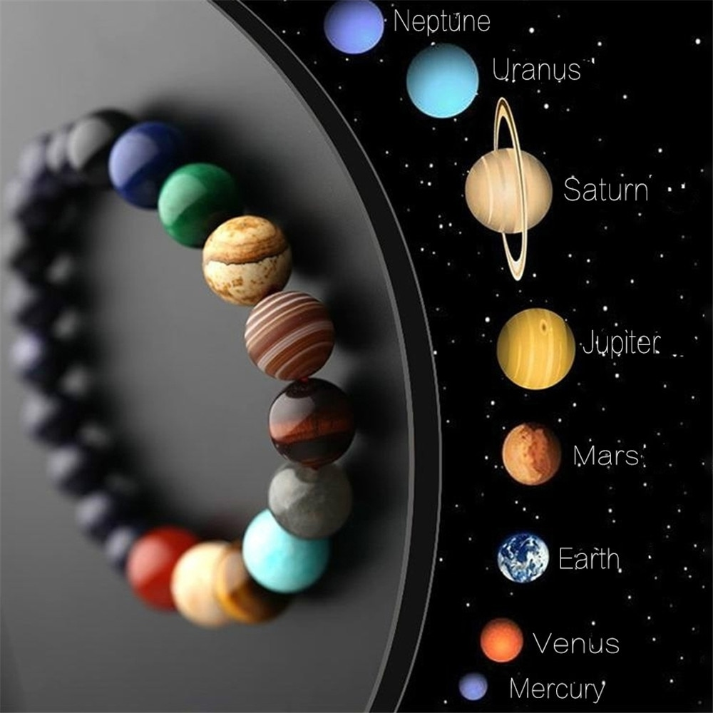 Lovers Eight Planets Natural Stone Bracelet Universe Yoga Chakra Galaxy Solar System Beads Bracelets