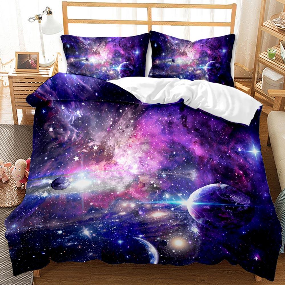Juego de edredón de cama doble tamaño king individual con diseño de galaxia en 3D, edredón de lujo para niños