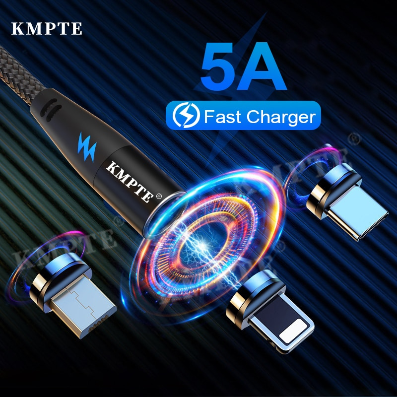 KMPTE Magnetic Cable Micro USB Type C Charger For iPhone 12 11 XR XS X Xiaomi Samsung OnePlus Phone Data transmission Cord Wire