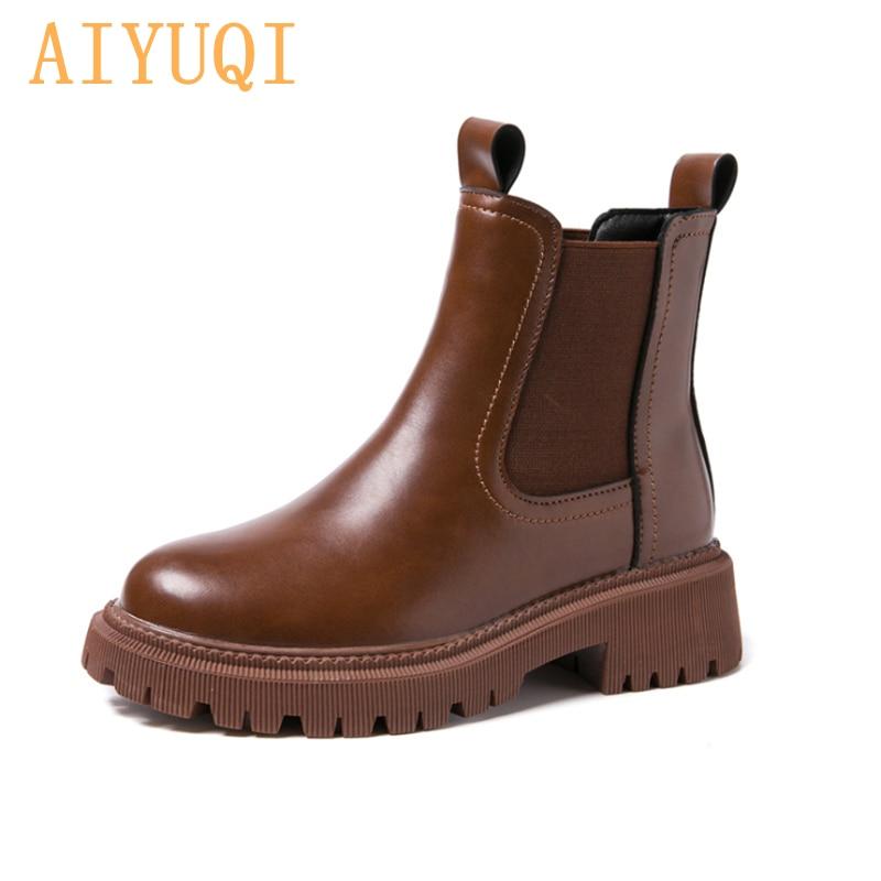 AIYUQI المرأة تشيلسي الأحذية جلد طبيعي 2021 جديد الخريف الشتاء موضة المرأة حذاء من الجلد الرجعية مارتن الأحذية السيدات