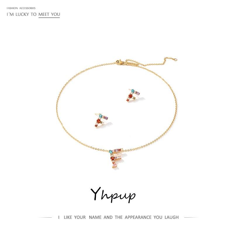 Yhpup Jewelry-Sets Zirconia cúbica cobre letra F collar pendientes colorido Chic Brincos para la novia joyería accesorios de boda