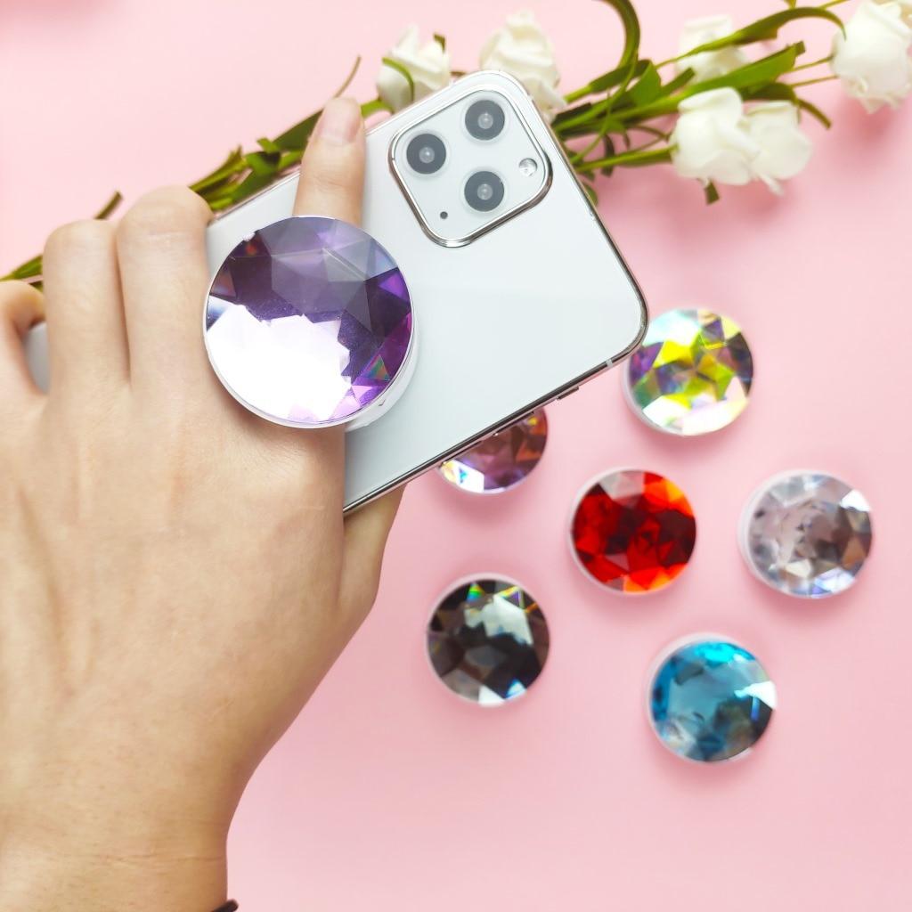Soporte de expansión Universal y soporte de agarre de dedo de diamante brillante para teléfonos, soporte de bolsillo para teléfonos móviles, soporte de teléfono móvil