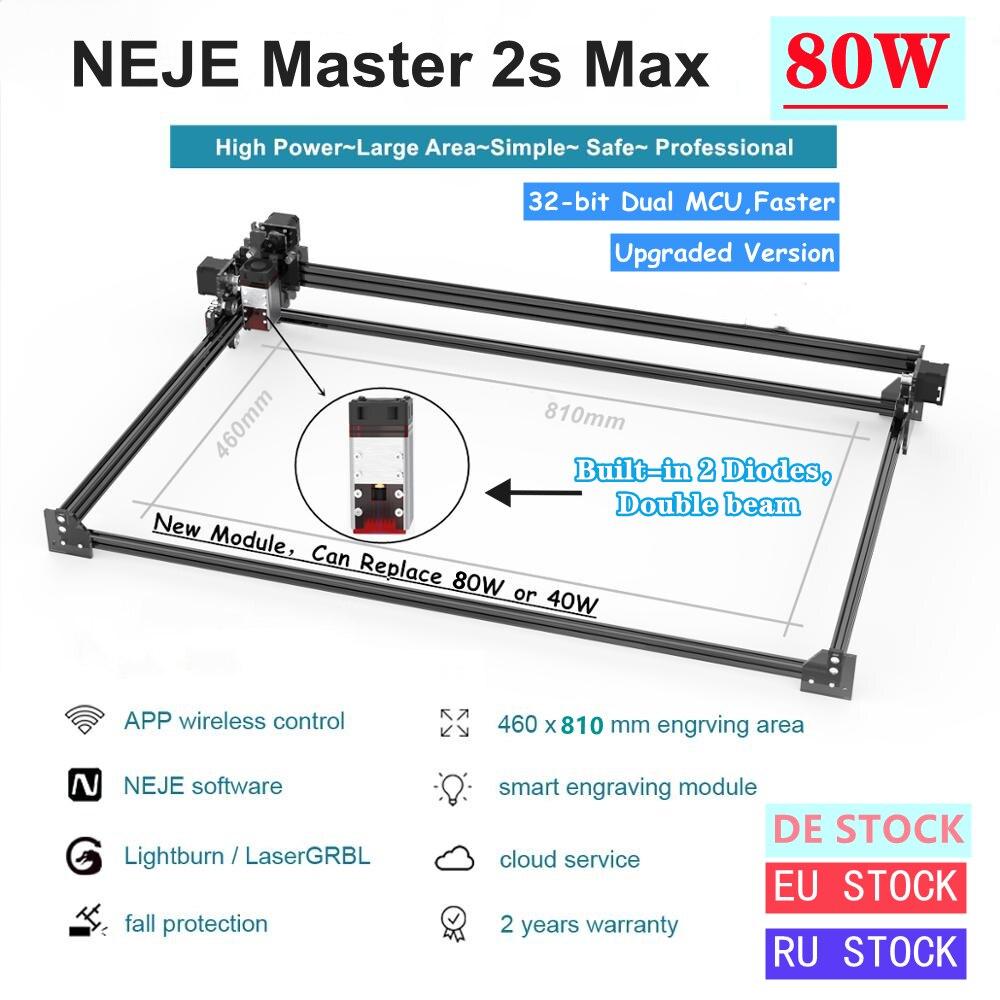NEJE Master 2s Max 80W CNC Professional High Power Laser Cutting Machine Engraving Machine Lightburn - Bluetooth - App Control