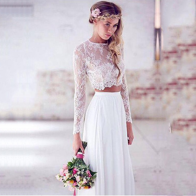 فستان زفاف شيفون من قطعتين ، أكمام طويلة ، أبيض عاجي ، دانتيل ، نمط بوهو ، مقاس كبير ، مجموعة 2021