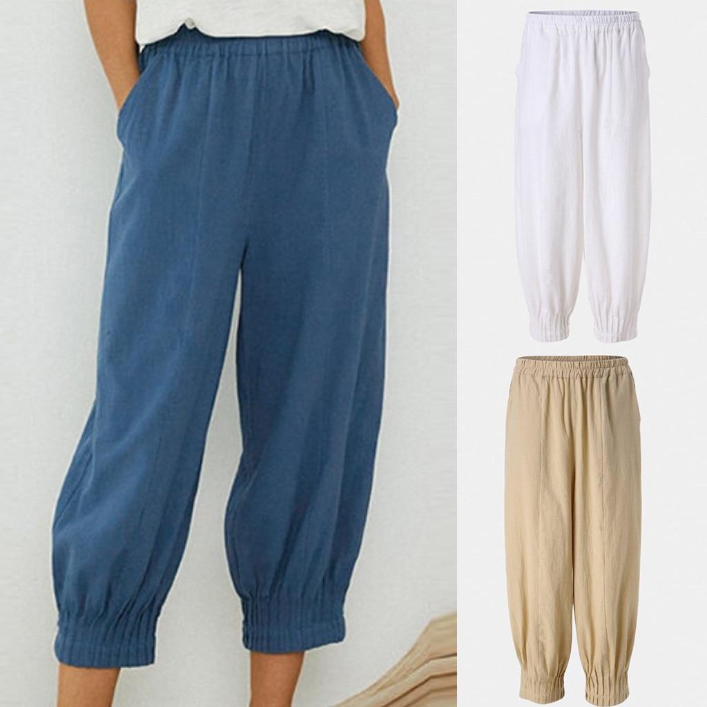Pantalones para Mujer de Color puro, cintura alta, dobladillo plisado, Pantalones de algodón y lino, Pantalones sueltos para Mujer