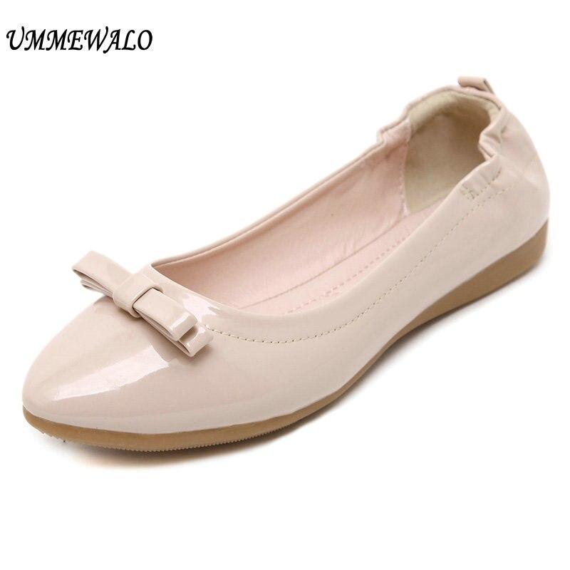 UMMEWALO Paten جلد حذاء مسطح المرأة عادية أشار تو لينة حذاء راقصة البالية السيدات القوس مصمم المطاط وحيد حذاء مسطح عادي