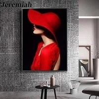 Peinture sur toile de beaute  mode nordique  jupe rouge  chapeau  affiche murale  Art moderne  accessoires de decoration pour la maison