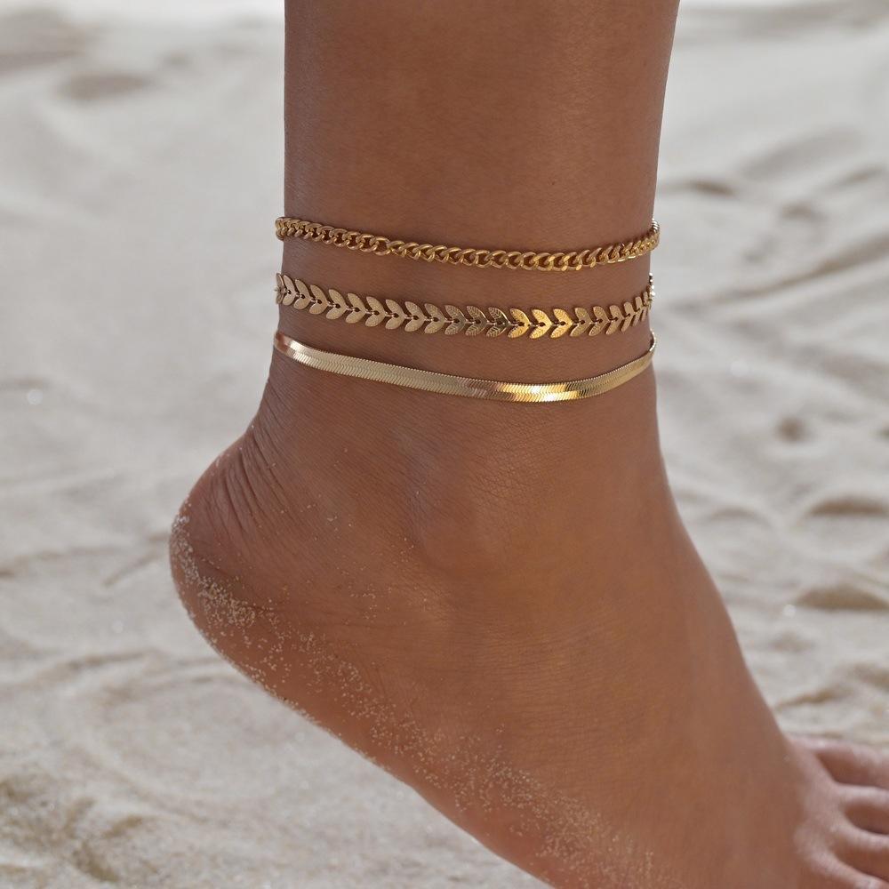 3 unids/set Color oro cadena tobilleras para mujer joyería para pie de...