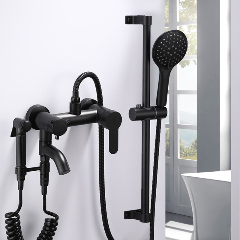 Juego de grifo de bidé Grifo de ducha de baño, grifo de ducha y bañera de cuarto de baño de latón negro, grifo de ducha, grifos mezcladores de pared