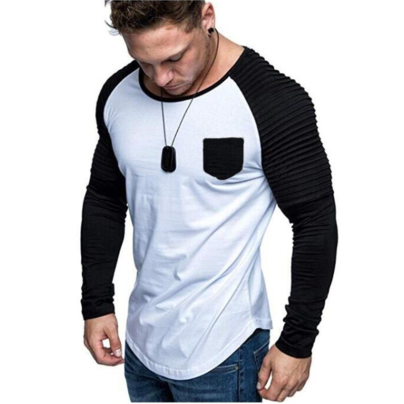 2019 moda masculina ajuste fino manga longa t-shirts à moda de luxo masculina algodão t camisa listra topos t plus size S-XXXL