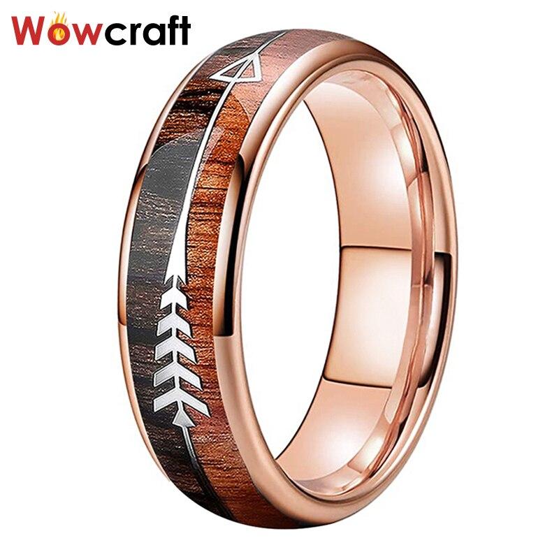 Anillos de boda de oro rosa de tungsteno de 6mm para mujeres y hombres, flecha con incrustaciones de madera Koa pulida y brillante, ajuste cómodo