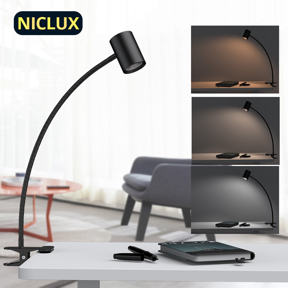 NICLUX LED Clip Desk Lamps USB Table Lamp Gooseneck Reading Lighting Stepless Dimmable Office Desk Study Lamp Table Light