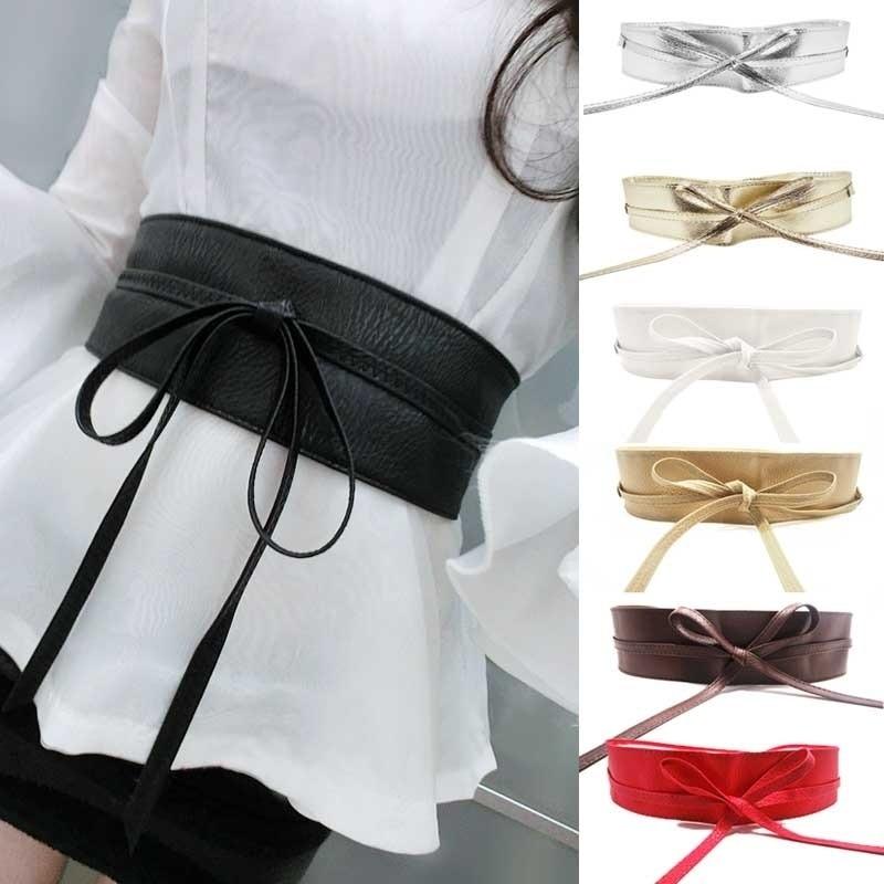 AliExpress - 1PC Fashion Spring Autumn Women Lady Fashion Metallic Color Soft Faux Leather Wide Belt Self Tie Wrap Waist Mujer Dress