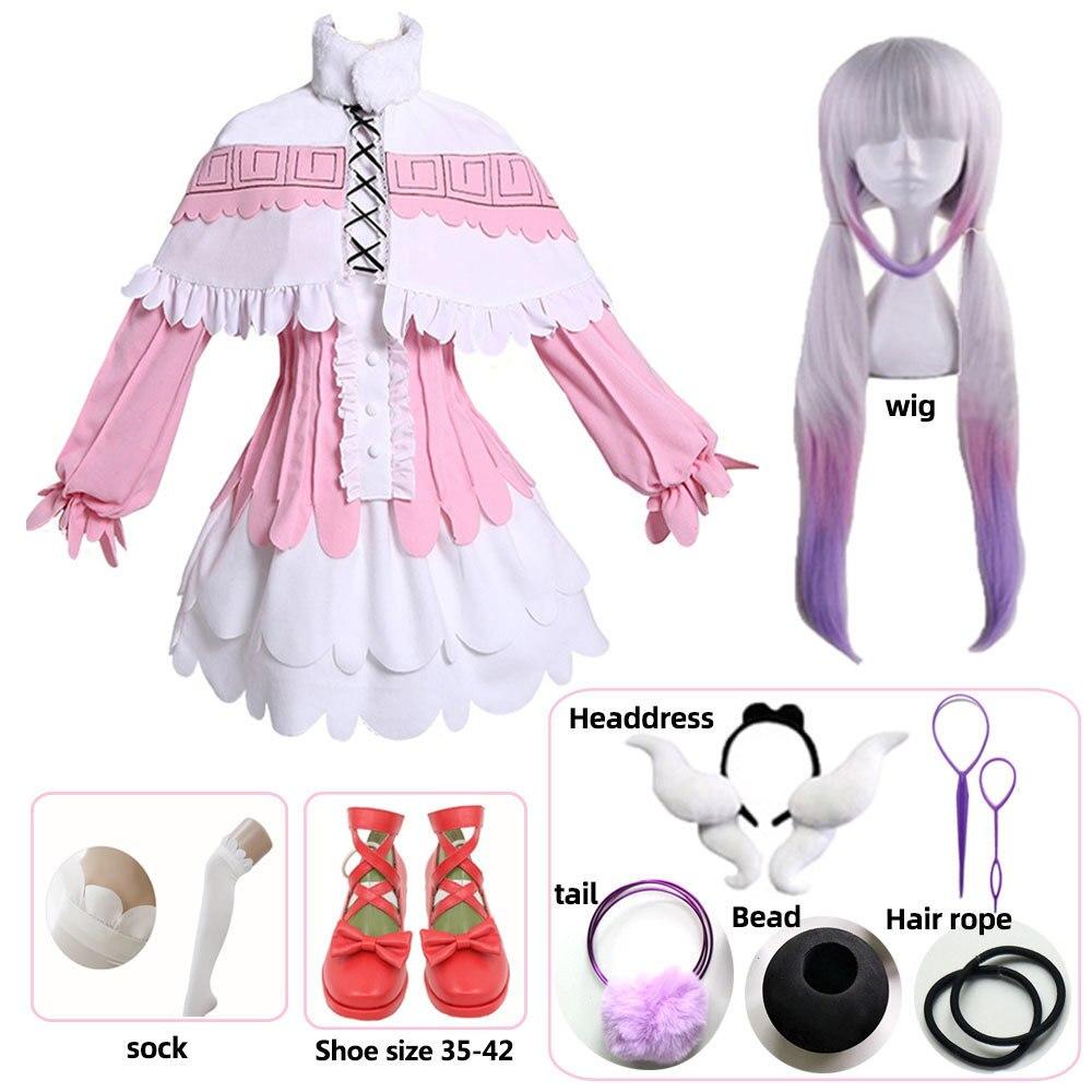Kanna cosplay japonés Chica de anime kobayashi dragon maid kamui kanna cosplay disfraces fiesta de halloween kawai vestido para mujer peluca