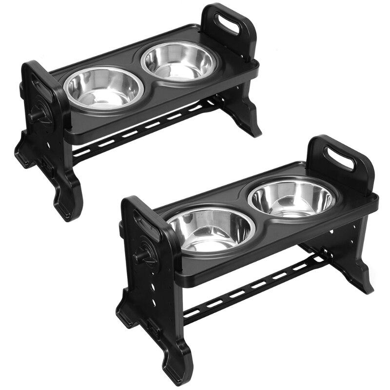Alimentador de Prato de Alimentação Ajustável das Bacias Antiderrapantes do Cão 4x7a do Animal de Estimação da Altura Dobro Elevadas