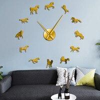 Arabian Horse Large Frameless Wall Clock DIY Acrylic Mirror Wall Stickers Mighty Stallion Animals Home Decor Silent Wall Watch