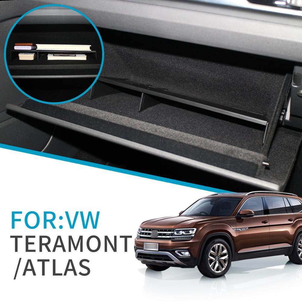 Smabee Auto Handschuh Box Intervall Lagerung für VW Teramont Atlas 2017 2018 2019 2020 Zubehör Aufräumen Zentrale Co-pilot lagerung Box