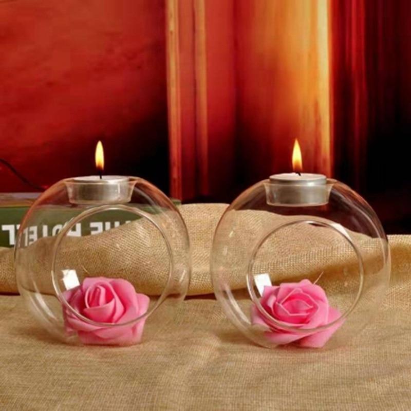 Gran oferta, jarrón ecológico con Micro paisaje, decoración romántica PARA CENA DE BODA, candelabro colgante de cristal para colgar velas