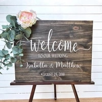 wedding welcome sign wood decals name sticker wedding decoration vinyl stickers personalised bride and groom name mural ay2016