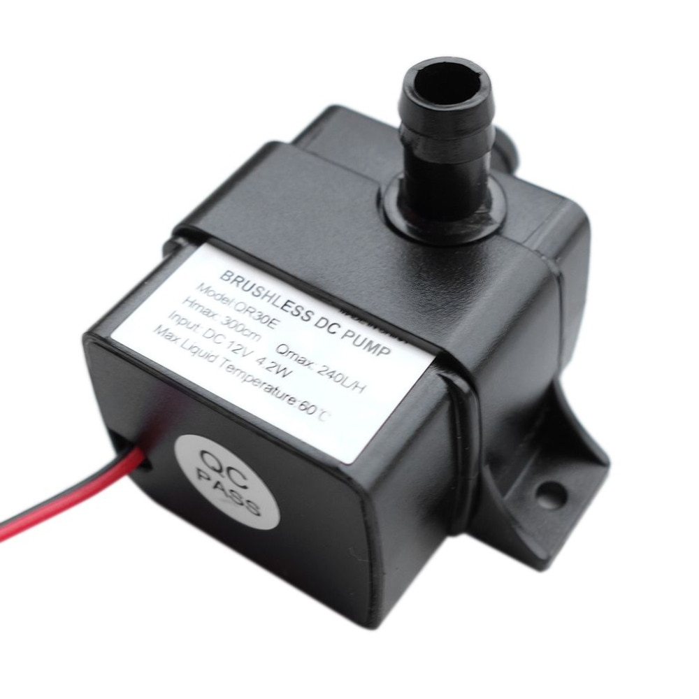 1 pcs mini dc brushless low noise water pump for solar water heater fountain 24v 350l h 2 5m mini brushless water pump Ultra-quiet 240L/H DC 12V 24V  Waterproof Brushless Motor Water Circulation Mini Water Pump Submersibles Water Pumps QR30E