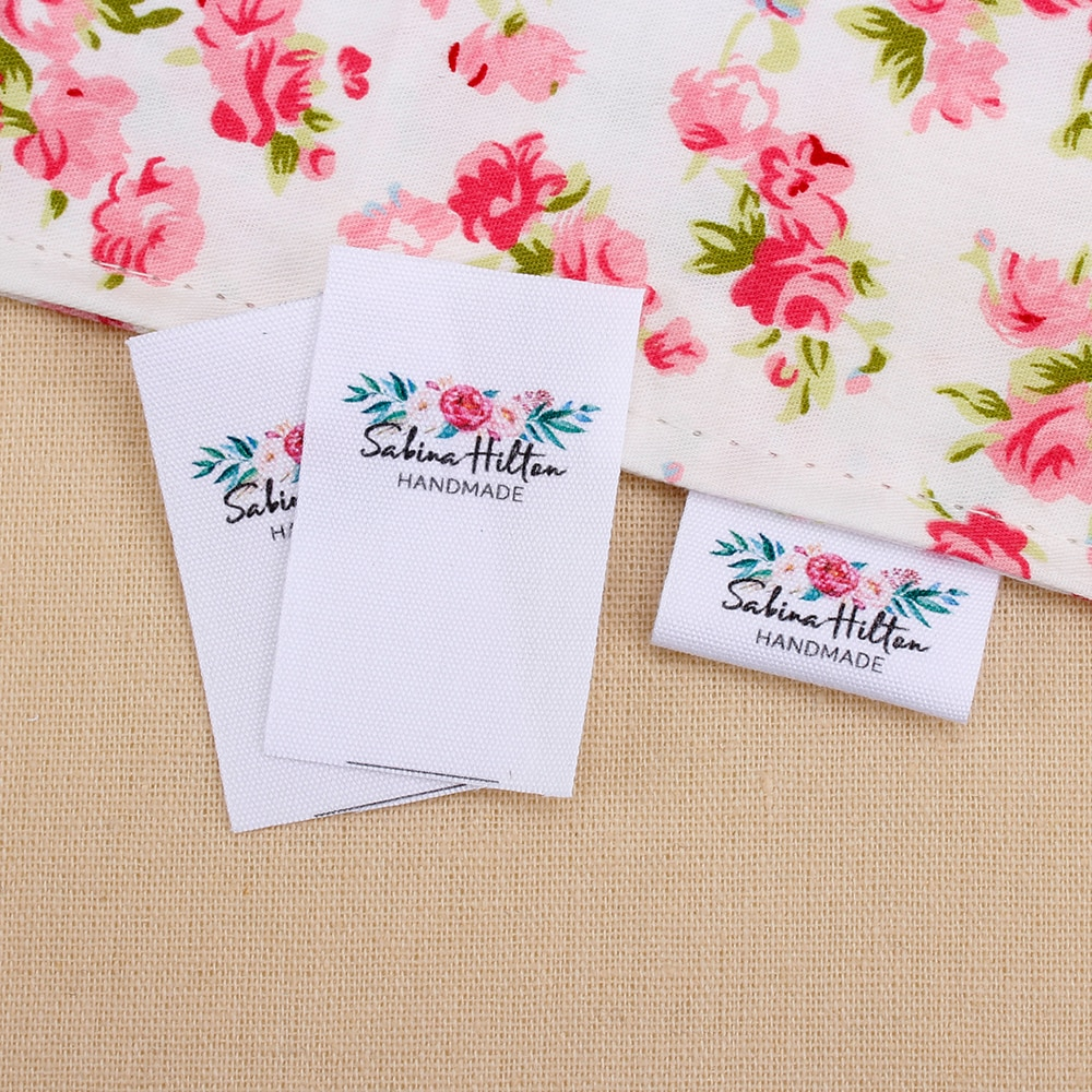 Custom Sewing label, fold, Custom Clothing Labels - Fabric Name Tags,  Logo or Text, Cotton Ribbon, Custom Design  (MD3035)