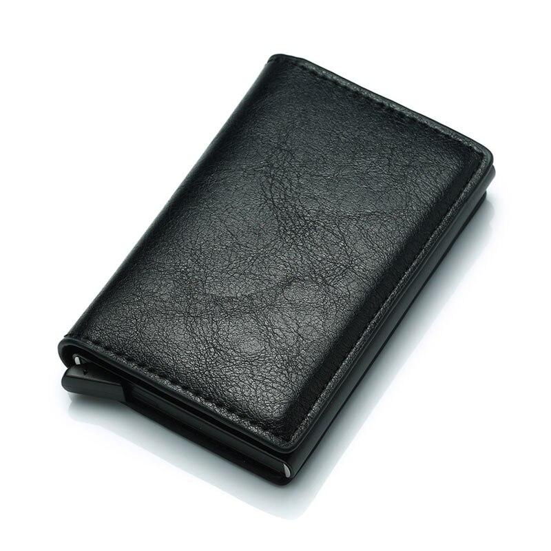 Moderno tarjetero de negocios para hombre, multifunción, automático, de aleación de aluminio, funda para tarjetas de cuero para hombre, Mini cartera, monedero Delgado