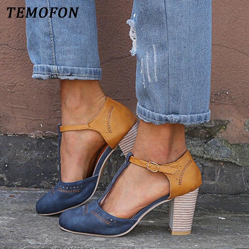 TEMOFON new chunky heel ladies pumps roman women high heel shoes ankle strap suede square heel sandals big size footwear HVT1024