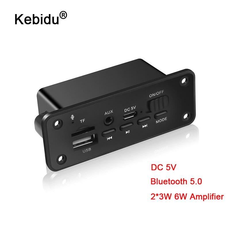 kebidu Bluetooth 5.0 MP3 Player Decoder Board 2 x 3W Speaker Car FM Radio Module 5V TF USB AUX Audio For Car Handsfree