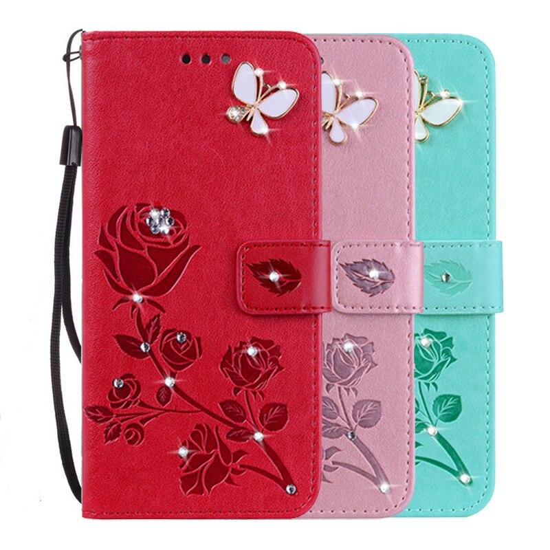 Funda con estampado de flores de cuero Rosa 3D para Samsung Galaxy Core II 2 G355 G355H G3559, funda con tapa tipo billetera con correa