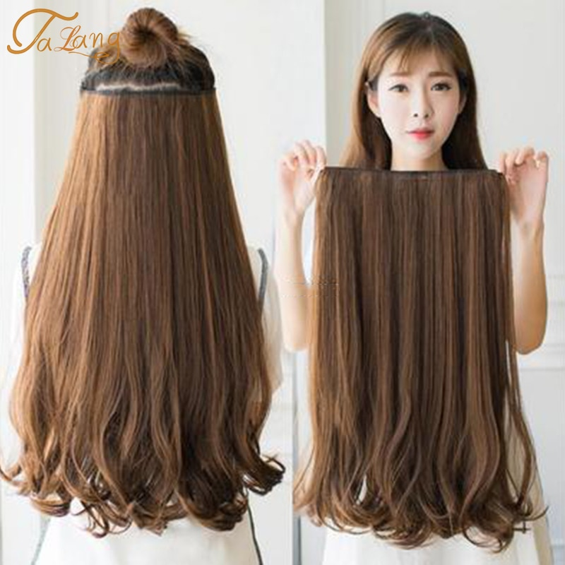 TALANG 60cm 5 Clip In Hair Extension Heat Resistant Fake Hairpieces Long Wavy Hairstyles Synthetic C