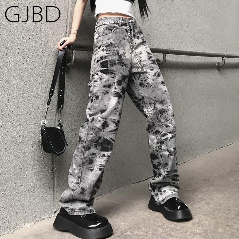 Women's Jeans 2021 New Gothic Tie-dyed Streetwear Y2K High Waist Wide Leg Pants Vintage Baggy Haraju