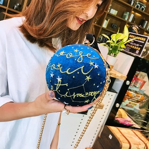 Ball-shaped Personality Handbags 2021 New One-shoulder Chain Embroidery Diagonal Fashion Hand-carry Evening Bag Purses