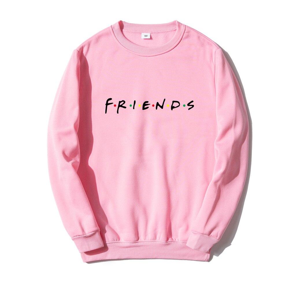 Толстовка с логотипом друзей, красные, черные, розовые свитшоты в стиле Харадзюку, мужские повседневные флисовые пуловеры с длинным рукавом...