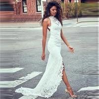 2021 new summer round necked lace sleeveless gown slim floor length white dress women fashion clothing sheath one shoulder
