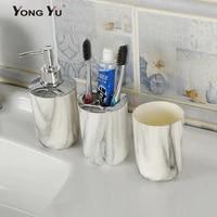 Ensemble daccessoires de salle de bain en plastique marbre  3 pieces  distributeur de savon  tasse  decoration de la maison