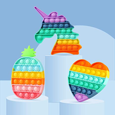 Rainbow Push Bubble Fidget Sensory Toy Autism Special Needs Fidget Squeeze Funny Anti-stress Stress Reliever Toys for Kids недорого