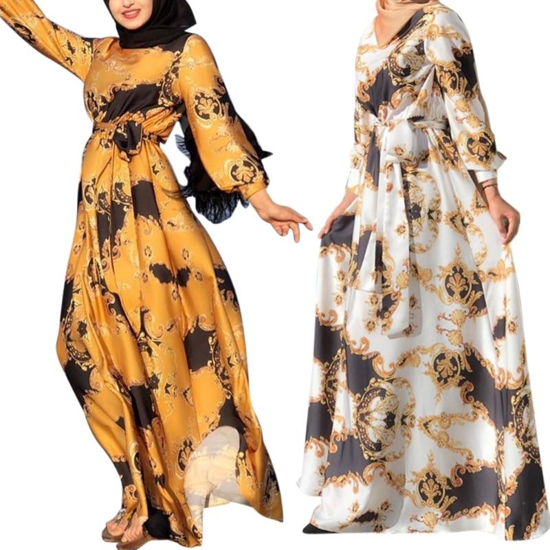 Women Muslim Puff Long Sleeve Maxi Dress Vintage Floral Print Belted High Waist Islamic Abaya Robe Party Loose Kaftan