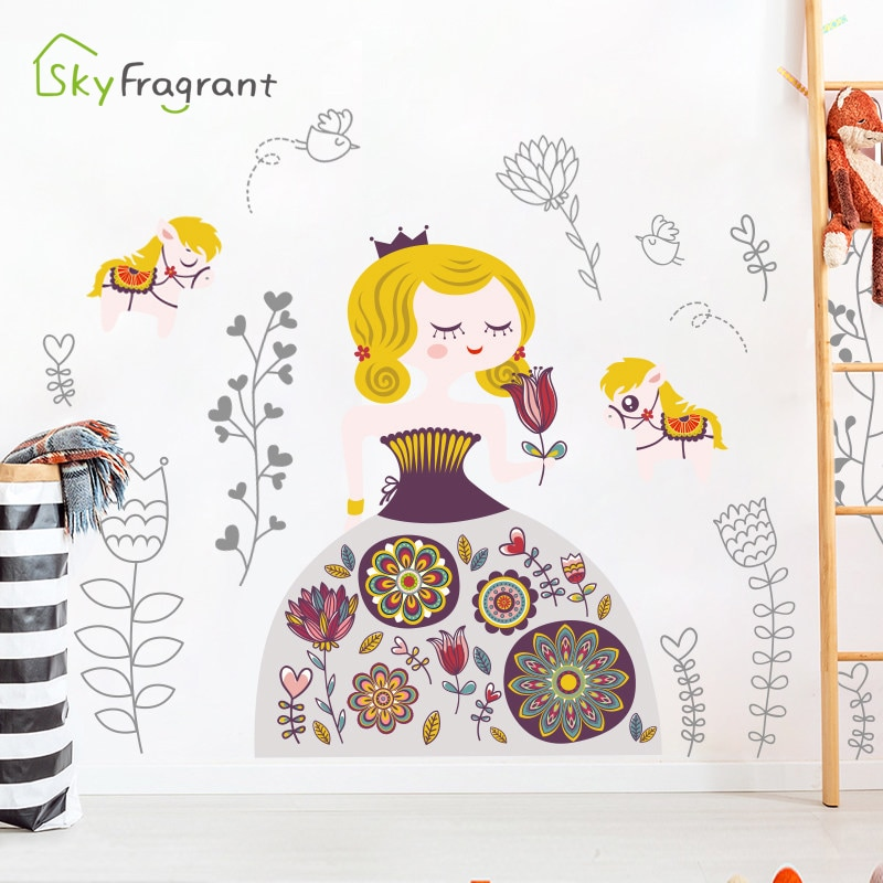 Cartoon Cute Girl Wall Stickers For Kids Rooms Girl Baby Bedroom Wall Decorations Self Adhesive Decoration Stickers Home Decor  - buy with discount