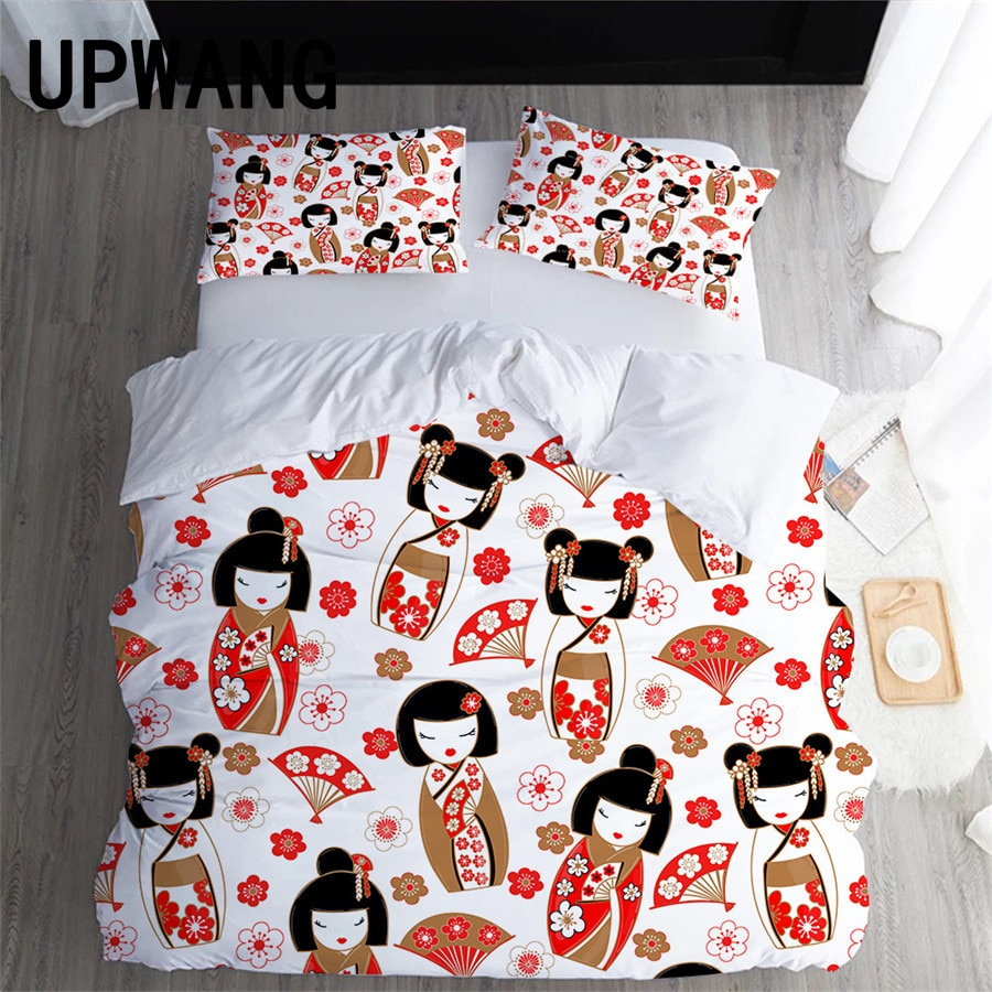 UPWANG 3D Bedding Set Cartoon Japanese Doll Printed Duvet/Quilt Cover Set Bedcloth with Pillowcase Bed Set Home Textiles